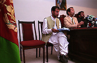 The Governor of Kandahar Haji Asadullah Khalid - pictured on the right, and he Ambassador of Japan Nirihiro Okuda - in the middle, holding a press conference about Japan investements in the Kandahar region.