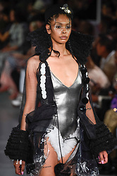 London, UK.  13 September 2019.  A model presents a look by I Love Four Seasons during Fashion Scout SS20, an off schedule show at Victoria House in Bloomsbury Square, on the opening day of London Fashion Week.   Credit: Stephen Chung / Alamy Live News