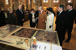 15.03.2016, Osijek, CRO, der Britische Kronprinz Charles und seine Frau Camilla besuchen Kroatien, im Bild Their Royal Highness the Prince of Wales and Duchess of Cornwall during a visit to Osijek visited the cathedral of, St. Peter and Paul, where they met with conservationists and craftsmen who restored cathedral of after the war. Dragan Vulin, Vladimir Sisljagic. EXPA Pictures © 2016, PhotoCredit: EXPA/ Pixsell/ Davor Javorovic/POOL<br /> <br /> *****ATTENTION - for AUT, SLO, SUI, SWE, ITA, FRA only*****