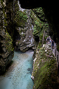 The rocky gorge in the river Tolminka river at Tolminska Korita, on 20th June 2018, in Tolmin Gorge, Slovenia.