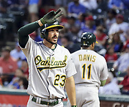 May 12, 2017 - Arlington, TX, USA - Oakland Athletics' Matt Joyce (23) gestures to fans after a solo home run against the Texas Rangers in the fifth inning on Friday, May 12, 2017 at Globe Life Park in Arlington, Texas. (Credit Image: © Richard W. Rodriguez/TNS via ZUMA Wire)