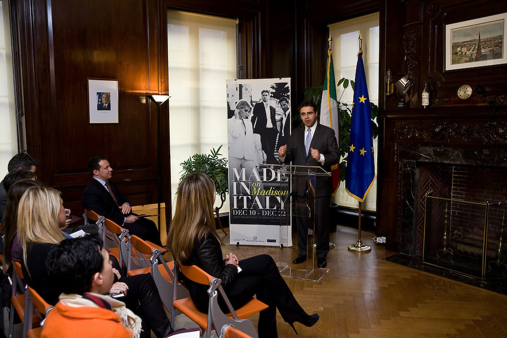 """Italian Trade Commission's """"Made in Italy on Madison"""" Launch Press Conference held at 2:00 PM on Thursday, December 10, 2009 at the Offices of the Italian Trade Commission, 33 East 67th Street, New York, NY."""