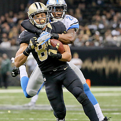Dec 21, 2015; New Orleans, LA, USA; New Orleans Saints wide receiver Willie Snead (83) is tackled by Detroit Lions cornerback Nevin Lawson (24) during the second half of a game at the Mercedes-Benz Superdome. The Lions defeated the Saints 35-27. Mandatory Credit: Derick E. Hingle-USA TODAY Sports