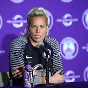 Orlando Pride goalkeeper Ashlyn Harris (1) speaks to the media after a win against the Seattle Reign FC at Camping World Stadium on May 8, 2016 in Orlando, Florida. (Alex Menendez via AP)