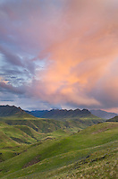 Clouds glowing in the fading light of sunset above the Imnaha River Canyon, Hells Canyon Recreation Area Oregon