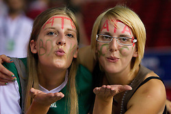 Fans of Slovenia sending kisses during the Preliminary Round - Group B basketball match between National teams of Slovenia and Croatia at 2010 FIBA World Championships on August 30, 2010 at Abdi Ipekci Arena in Istanbul, Turkey.