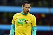 """Aston Villa defender John Terry (26) wear his """"Kick it out` T-Shirt during the EFL Sky Bet Championship match between Aston Villa and Reading at Villa Park, Birmingham, England on 3 April 2018. Picture by Dennis Goodwin."""