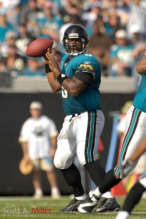 Dec. 9, 2007; Jacksonville, FL, USA;  Jacksonville Jaguars quarterback David Garrard (9) during his team's game against the Carolina Panthers at Jacksonville Municipal Stadium.                        ©2007 Scott A. Miller..©2007 Scott A. Miller