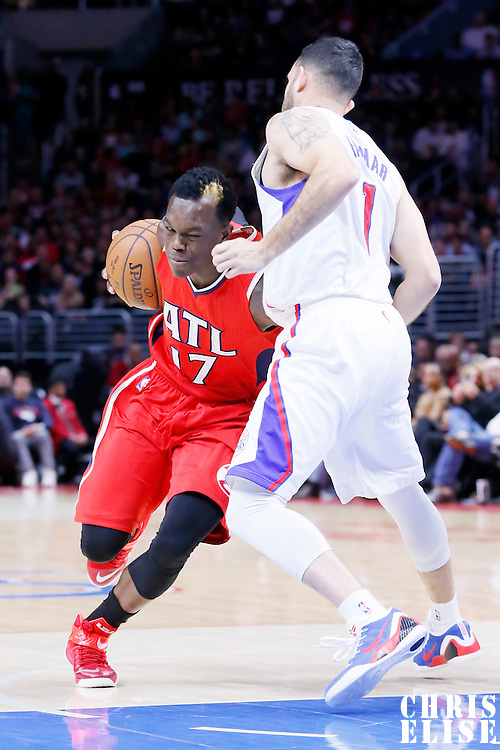 05 January 2014: Atlanta Hawks guard Dennis Schroder (17) drives past Los Angeles Clippers guard Jordan Farmar (1) during the Atlanta Hawks 107-98 victory over the Los Angeles Clippers, at the Staples Center, Los Angeles, California, USA.