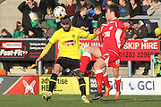 Accrington Stanley forward Shay McCartan (7) and Burton Albion midfielder Robbie Weir (8) during the Sky Bet League 2 match between Burton Albion and Accrington Stanley at the Pirelli Stadium, Burton upon Trent, England on 14 March 2015. Photo by Aaron Lupton.