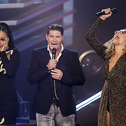 NLD/Hilversum/20141121- 2de Live The Voice of Holland, Angela Vergouwen, Martijn Krabbe en Kelly Cossee