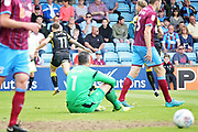 Rotherham United midfielder Jon Taylor (11) wheels away after scoring the first goal during the EFL Sky Bet League 1 match between Scunthorpe United and Rotherham United at Glanford Park, Scunthorpe, England on 12 May 2018. Picture by Nigel Cole.