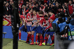 February 20, 2019 - Madrid, Madrid, Spain - Atletico de Madrid's players celebrate goal during UEFA Champions League match, Round of 16, 1st leg between Atletico de Madrid and Juventus at Wanda Metropolitano Stadium in Madrid, Spain. February 20, 2019. (Credit Image: © A. Ware/NurPhoto via ZUMA Press)