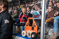 KELOWNA, BC - JANUARY 3: A young fan shows off his new jersey at Prospera Place on January 3, 2020 in Kelowna, Canada. (Photo by Marissa Baecker/Shoot the Breeze)