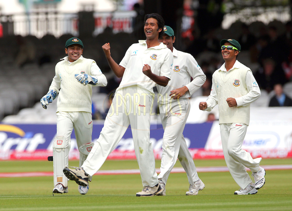© SPORTZPICS /  Seconds Left Images 2010 - Shahadat .Hossain celebrates his 5th wicket (figures of 28o 3m 98r 5w)  - James Anderson bowled for 13 -  England v Bangladesh - 1st Test - Day 2 - Lord's Cricket Ground  St. John's Wood, London 28/05/2010 -  All rights reserved.
