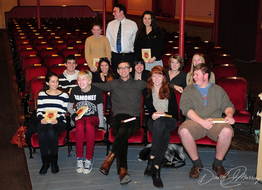 Author Chuck Palahniuk (center) with Portsmouth-area high school writing students and teachers before Chuck appears at The Music Hall in Portsmouth, NH. Nov. 3, 2011