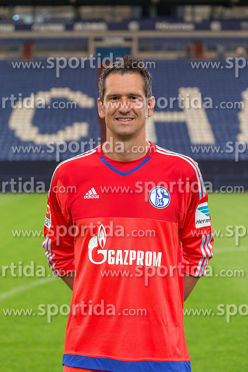 23.06.2015, Veltins-Arena, Gelsenkirchen, GER, 1. FBL, Schalke 04, Fototermin, im Bild Michael Gspurning (Schalke) // during the official Team and Portrait Photoshoot of German Bundesliga Club Schalke 04 at the Veltins-Arena in Gelsenkirchen, Germany on 2015/06/23. EXPA Pictures &copy; 2015, PhotoCredit: EXPA/ Eibner-Pressefoto/ Hommes<br /> <br /> *****ATTENTION - OUT of GER*****