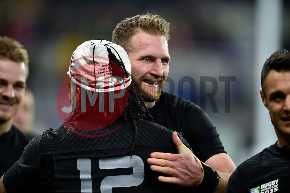 Kieran Read of New Zealand embraces team-mate Ma'a Nonu on the occasion of Nonu's 100th cap for his country - Mandatory byline: Patrick Khachfe/JMP - 07966 386802 - 09/10/2015 - RUGBY UNION - St James' Park - Newcastle, England - New Zealand v Tonga - Rugby World Cup 2015 Pool C.