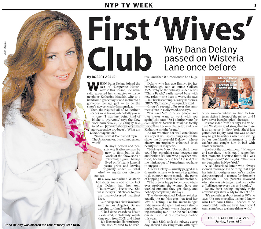 "7th OCT 2007, NEW YORK POST..28th September 2007, Beverly Hills, California. Desperate Housewives actress Dana Delany pictures at the Four Seasons Hotel in Beverly Hills. Dana, an Emmy award winning actress has recently joined the star cast of Desperate Housewives playing the roll of ""Katherine Mayfair"". In 1991, People magazine voted her as one of the 50 Most Beautiful People in the world. PHOTO © JOHN CHAPPLE / REBEL IMAGES.310 570 9100. john@chapple.biz   www.chapple.biz"