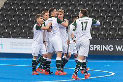 Surbiton celebrate scoring. Hampstead & Westminster v Surbiton - Men's Hockey League Final, Lee Valley Hockey & Tennis Centre, London, UK on 29 April 2018. Photo: Simon Parker