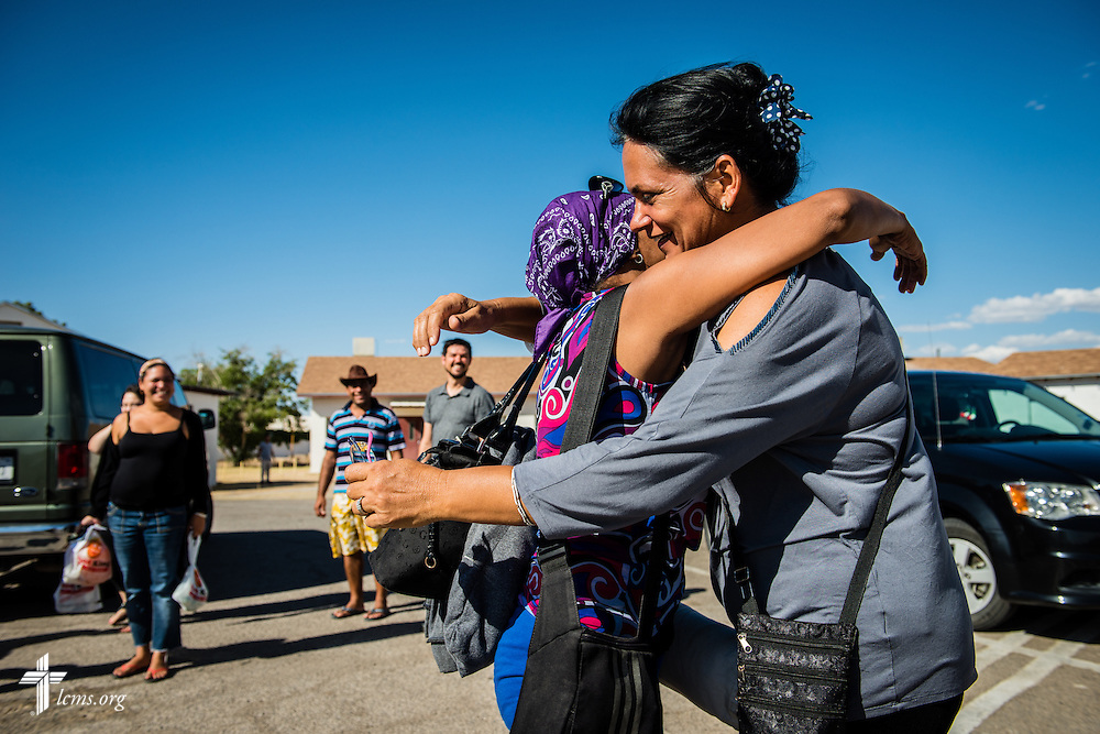 Hildelisa Rodriguez Mesa greets a fellow Cuban immigrant on Friday, May 20, 2016, at Ysleta Lutheran Mission Human Care in El Paso, Texas. Both migrants journeyed together through South and Central America as they struggled to reach the United States. LCMS Communications/Erik M. Lunsford