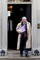 © Licensed to London News Pictures. 12/03/2019. London, UK. Attorney General Geoffrey Cox QC leaves 10 Downing Street after delivering his legal opinion on the risk of the backstop arrangement. MPs will get a second meaningful vote on Prime Minister Theresa May's Brexit deal this evening. Photo credit: Rob Pinney/LNP