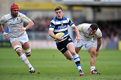 George Ford (Bath) goes on the attack - Photo mandatory by-line: Patrick Khachfe/JMP - Tel: Mobile: 07966 386802 19/04/2014 - SPORT - RUGBY UNION - The Recreation Ground, Bath - Bath Rugby v Worcester Warriors - Aviva Premiership.