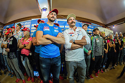 Jakov Fak and Filip Flisar during official presentation of the outfits of the Slovenian Ski Teams before new season 2015/16, on October 6, 2015 in Kulinarika Jezersek, Sora, Slovenia. Photo by Vid Ponikvar / Sportida