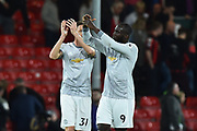 Romelu Lukaku (9) of Manchester United applauds, claps the travelling fans at full time after a 2-0 win over Bournemouth during the Premier League match between Bournemouth and Manchester United at the Vitality Stadium, Bournemouth, England on 18 April 2018. Picture by Graham Hunt.