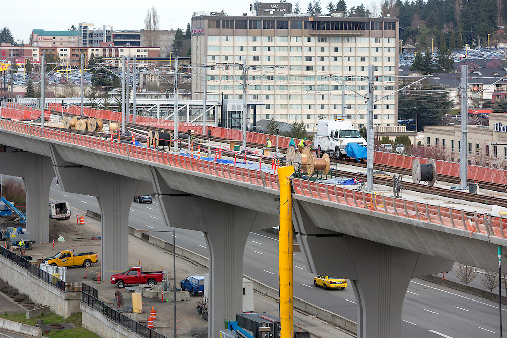 Construction of the Sound Transit Link light rail extension is pictured at SeaTac Airport, Feb. 26, 2016, in Sea Tac, Wash. (Jason Redmond photo)