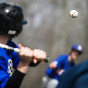 Thetford Academy sophomore pitcher Henry Nichols, right, throws a strike against Williamstown hitter Logan Clark during a game at Thetford Academy on April 7, 2012.