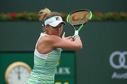 March 10, 2019 - Indian Wells, CA, U.S. - INDIAN WELLS, CA - MARCH 10: Kateryna Kozlova (UKR) hits a forehand during the BNP Paribas Open on March 10, 2019 at Indian Wells Tennis Garden in Indian Wells, CA. (Photo by George Walker/Icon Sportswire) (Credit Image: © George Walker/Icon SMI via ZUMA Press)