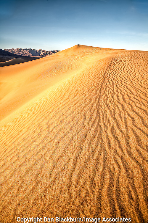 Sunrise lights up the Mesquite Dunes in Death Valley California.