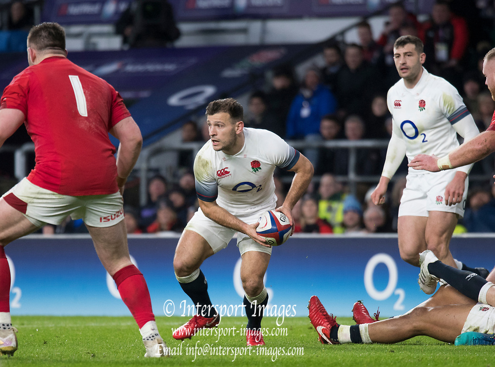 Twickenham, Surrey. UK. Danny CARE, looking to make a pass, during the Six Nations Rugby Match, England vs Wales RFU Stadium, Twickenham. Surrey, England. on Saturday 10.02.18<br /> <br /> <br /> [Mandatory Credit Peter SPURRIER/Intersport Images]