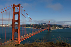 The Golden Gate Bridge, viewed from Golden Gate National Recreation Area, San Francisco, California, USA.