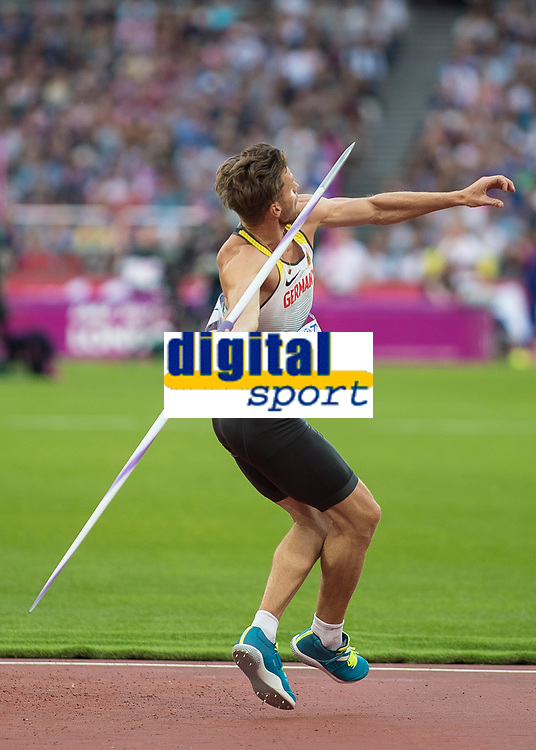 Athletics - 2017 IAAF London World Athletics Championships - Day Nine, Evening Session<br /> <br /> Mens Decathlon - Javelin<br /> <br /> Rico Freimuth (Germany) launches the javelin at the London Stadium<br /> <br /> COLORSPORT/DANIEL BEARHAM