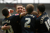 Photo: Steve Bond/Richard Lane Photography. MK Dons v Southampton. Coca-Cola Football League One. 20/03/2010. Rickie Lambert (facing) celebrates his hat trick