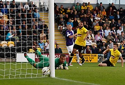 Oxford United's Alfie Potter scores the first goal  - Photo mandatory by-line: Matt Bunn/JMP - Tel: Mobile: 07966 386802 07/09/2013 - SPORT - FOOTBALL -  Pirelli Stadium - Burton upon Trent - Burton Albion V Oxford United - Sky Bet League Two