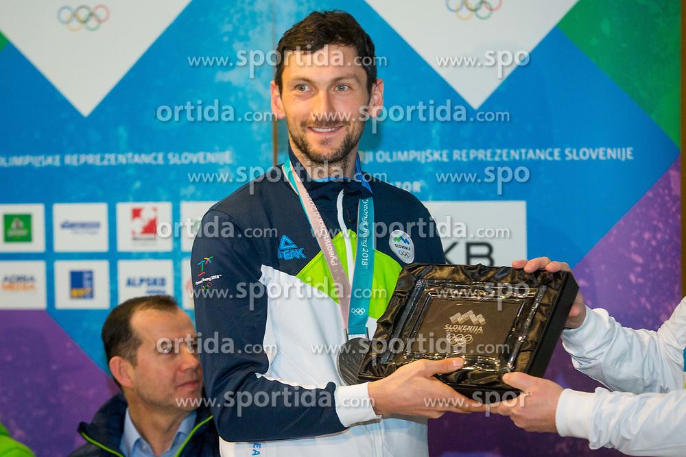Jakov Fak during Arrival of Jakov Fak, Silver medalist at Olympic Games in Pyeongchang 2018, on February 25, 2018 in Aerodrom Ljubljana, Letalisce Jozeta Pucnika, Kranj, Slovenia. Photo by Ziga Zupan / Sportida