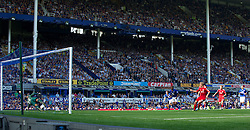 LIVERPOOL, ENGLAND - Saturday, October 1, 2011: Liverpool's Dirk Kuyt sees his penalty kick saved by Everton's goalkeeper Tim Howard during the Premiership match at Goodison Park. (Pic by David Rawcliffe/Propaganda)