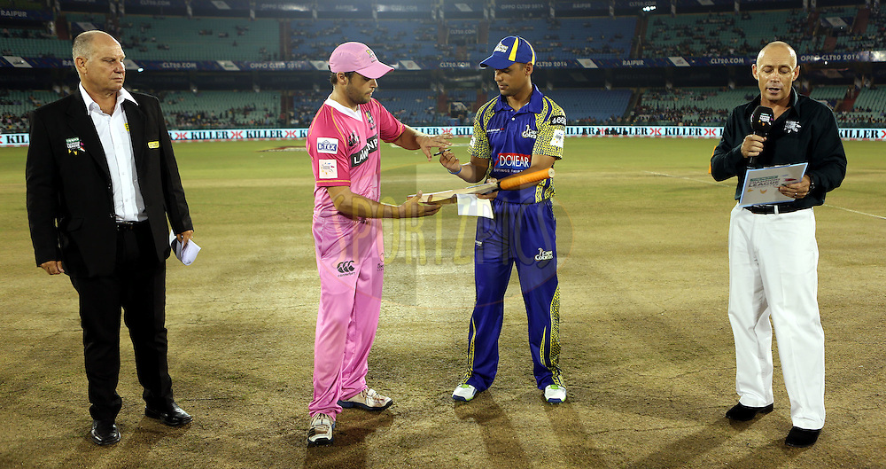 Match Referee Andy Pycroft  and Daniel Flynn Captain of Northern Knights and Justin Ontong captain of Cape Cobras  during the toss of the  match 3 of the Oppo Champions League Twenty20 between the Cape Cobras and the Northern Knights held at the Chhattisgarh International Cricket Stadium, Raipur, India on the 19th September 2014<br /> <br /> Photo by:  Sandeep Shetty / Sportzpics/ CLT20<br /> <br /> <br /> Image use is subject to the terms and conditions as laid out by the BCCI/ CLT20.  The terms and conditions can be downloaded here:<br /> <br /> http://sportzpics.photoshelter.com/gallery/CLT20-Image-Terms-and-Conditions-2014/G0000IfNJn535VPU/C0000QhhKadWcjYs