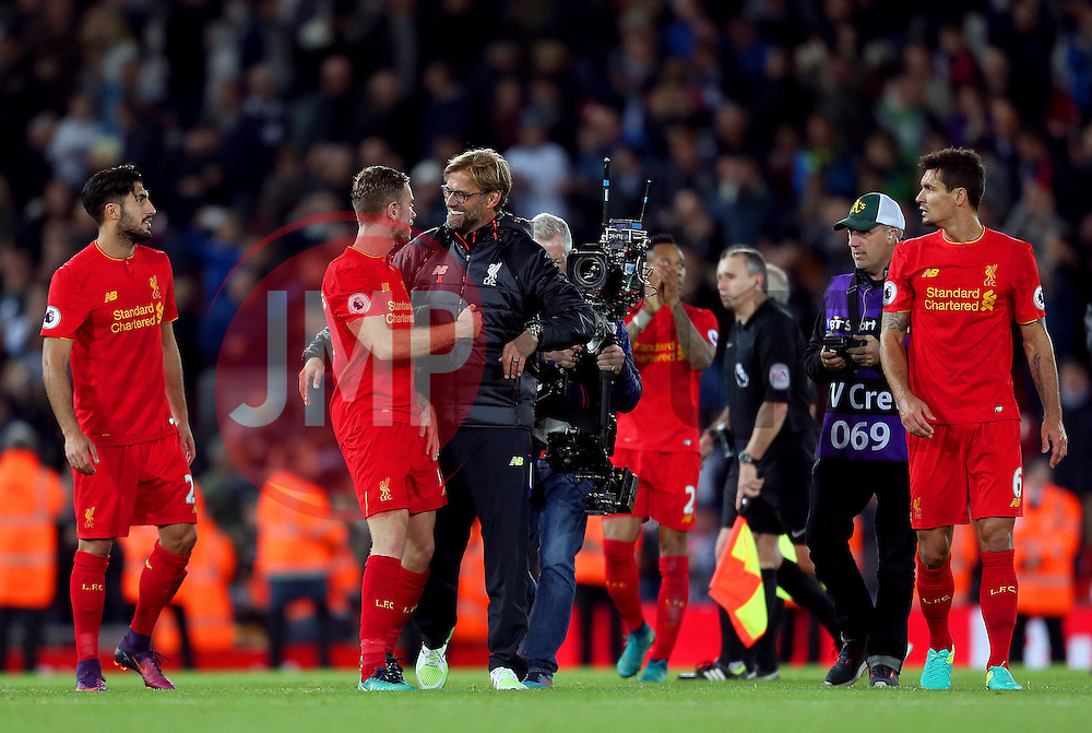 Liverpool manager Jurgen Klopp celebrates with his players at full time - Mandatory by-line: Matt McNulty/JMP - 22/10/2016 - FOOTBALL - Anfield - Liverpool, England - Liverpool v West Bromwich Albion - Premier League