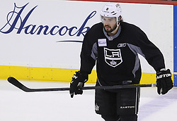 May 29; Newark, NJ, USA; Los Angeles Kings defenseman Drew Doughty (8) during Stanley Cup Finals media practice day at the Prudential Center. Mandatory Credit: Ed Mulholland-US PRESSWIRE