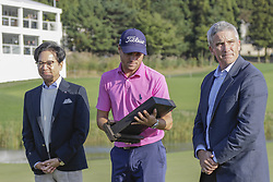 October 22, 2017 - Seogwipo, Jeju Island, South Korea - October 22, 2017-Seogwipo, Jeju Island, South Korea-Justin Thomas of USA(C) hold trophy with react winner trophy event on the 18th hole  island during an PGA TOUR CJ CUP NINE BRIDGE FINAL at Nine Bridge CC in Jeju Island, South Korea. (Credit Image: © Ryu Seung Il via ZUMA Wire)