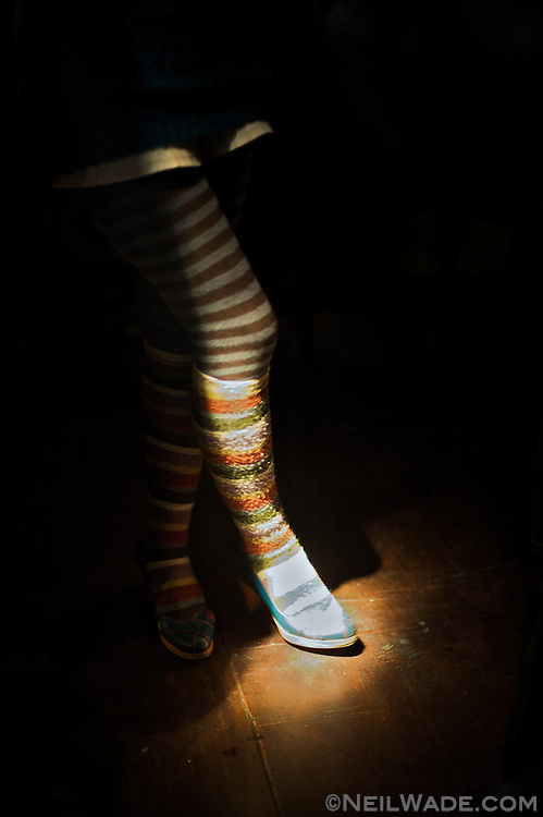 Striped legs and leg warmers at a concert in Taipei, Taiwan.