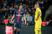 Edinson Roberto Paulo Cavani Gomez (El Matador) (El Botija) (Florestan) (PSG) and Stephane RUFFIER (AS Saint-Etienne) during the French Championship Ligue 1 football match between Paris Saint-Germain and AS Saint-Etienne on September 14, 2018 at Parc des Princes stadium in Paris, France - Photo Stephane Allaman / ProSportsImages / DPPI