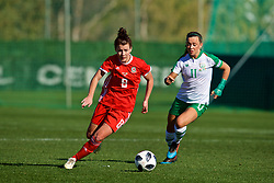 MARBELLA, SPAIN - Thursday, February 28, 2019: Wales' Angharad James (L) and Republic of Ireland's captain Katie McCabe during an international friendly match between Wales and Republic of Ireland at the Marbella Football Centre. (Pic by David Rawcliffe/Propaganda)