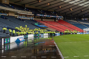 A large Police presence assembling for the 'Old Firm' Clash at the National Stadium ahead of the Betfred Scottish League Cup Final match between Rangers and Celtic at Hampden Park, Glasgow, United Kingdom on 8 December 2019.
