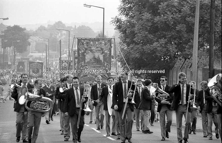 Grimethorpe Colliery Band ahead of the banners. 1990 Yorkshire Miner's Gala. Rotherham.