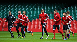 CARDIFF, WALES - Saturday, March 26, 2016: Wales' captain Ashley Williams and Chris Gunter during a training session at the Millennium Stadium ahead of the International Friendly match against Ukraine. (Pic by David Rawcliffe/Propaganda)